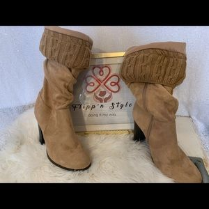 Tan sued sweater boots low heal